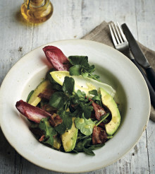 Punchy Chicory, Watercress, Bacon, Avocado in a Honey Mustard Dressing