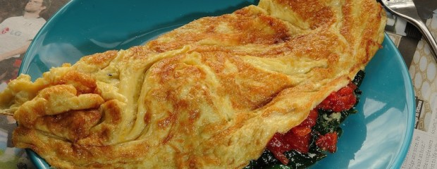 3 Egg Omelette with Spinach and Tomato Sauce