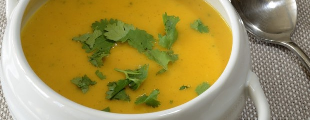 Energy boost carrot soup with orange, coconut & coriander