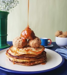 Pancakes with deep fried ice cream