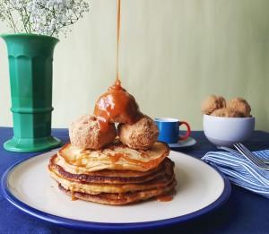 Pancakes with deep fried ice cream